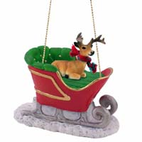 Deer Buck Sleigh Ride Ornament