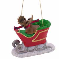 Moose Bull Sleigh Ride Ornament
