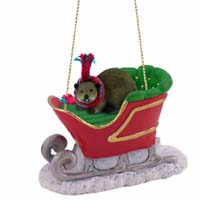 Beaver Sleigh Ride Ornament