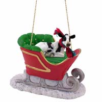 Holstein Cow Sleigh Ride Ornament