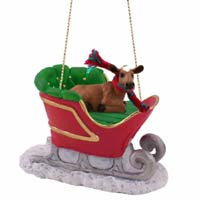 Guernsey Cow Sleigh Ride Ornament