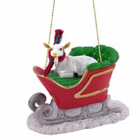 Goat White Sleigh Ride Ornament