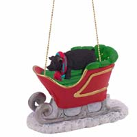 Pig Black Sleigh Ride Ornament