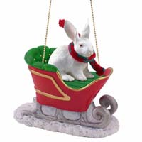 Rabbit White Sleigh Ride Ornament