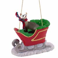 Ferret Sleigh Ride Ornament