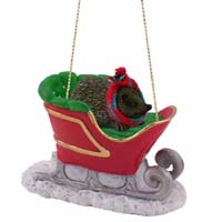 Hedgehog Sleigh Ride Ornament