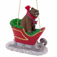 Bear Grizzly Sleigh Ride Ornament
