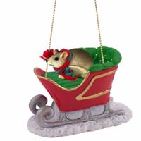 Mouse Sleigh Ride Ornament