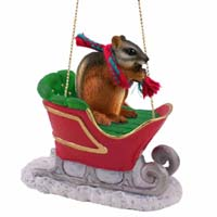 Chipmunk Sleigh Ride Ornament