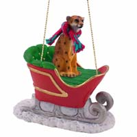 Cheetah Sleigh Ride Ornament