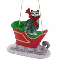Silver Shorthaired Tabby Cat Sleigh Ride Ornament