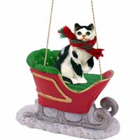 Black & White Shorthaired Tabby Cat Sleigh Ride Ornament