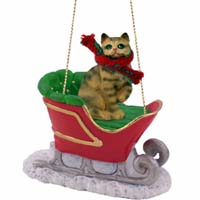 Brown Shorthaired Tabby Cat Sleigh Ride Ornament