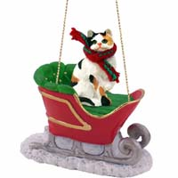 Calico Shorthaired Sleigh Ride Ornament
