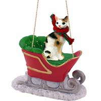 Tortoise & White Cornish Rex Sleigh Ride Ornament