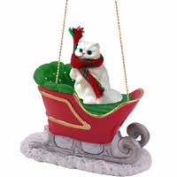 White Persian Sleigh Ride Ornament