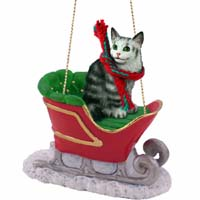 Silver Tabby Maine Coon Cat Sleigh Ride Ornament