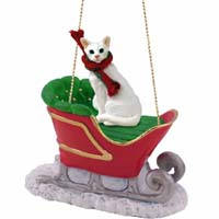 White Oriental Shorthaired Sleigh Ride Ornament
