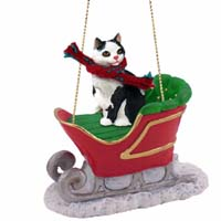 Black & White Manx Sleigh Ride Ornament
