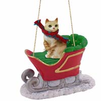 Red Tabby Manx Sleigh Ride Ornament