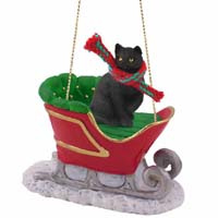 Black Shorthaired Tabby Cat Sleigh Ride Ornament
