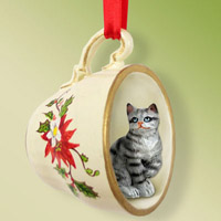 Silver Shorthaired Tabby Cat Tea Cup Red Holiday Ornament
