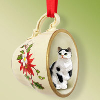 Black & White Shorthaired Tabby Cat Tea Cup Red Holiday Ornament