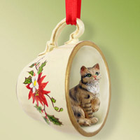 Brown Shorthaired Tabby Cat Tea Cup Red Holiday Ornament