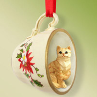Red Shorthaired Tabby Cat Tea Cup Red Holiday Ornament