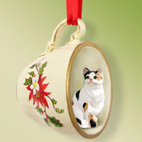 Calico Shorthaired Tea Cup Red Holiday Ornament