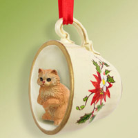 Red Persian Tea Cup Red Holiday Ornament
