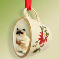 Ragdoll Tea Cup Red Holiday Ornament