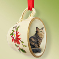 Brown Tabby Maine Coon Cat Tea Cup Red Holiday Ornament