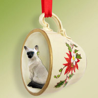 Siamese Tea Cup Red Holiday Ornament