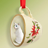 White Oriental Shorthaired Tea Cup Red Holiday Ornament