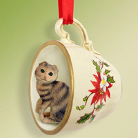 Brown Tabby Scottish Fold Tea Cup Red Holiday Ornament