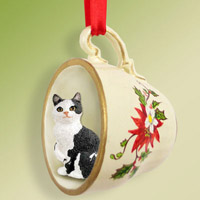 Black & White Manx Tea Cup Red Holiday Ornament