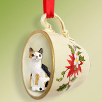 Tortoise & White Japanese Bobtail Tea Cup Red Holiday Ornament