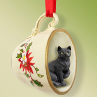 Black Shorthaired Tabby Cat Tea Cup Red Holiday Ornament