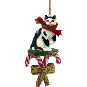 Black & White Shorthaired Tabby Cat Candy Cane Ornament