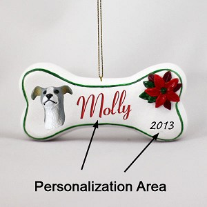 Greyhound Blue Bone Ornament (Personalize-It-Yourself)