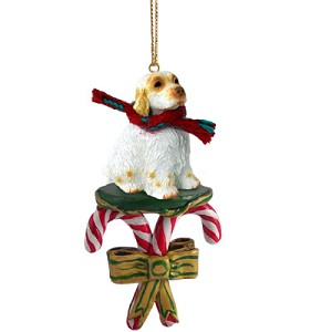 Clumber Spaniel Candy Cane Ornament