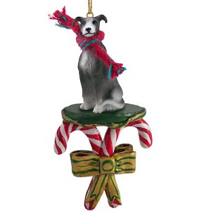 Greyhound Blue Candy Cane Ornament