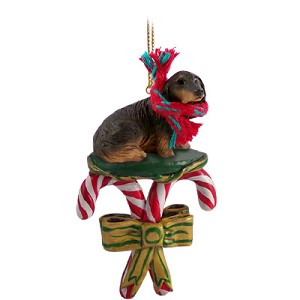 Dachshund Longhaired Black Candy Cane Ornament
