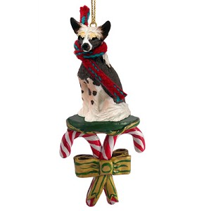 Chinese Crested Dog Candy Cane Ornament
