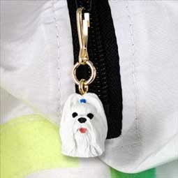 Shih Tzu White Zipper Charm