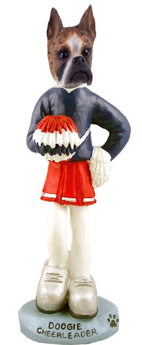 Boxer Brindle Cheerleader Doogie Collectable Figurine