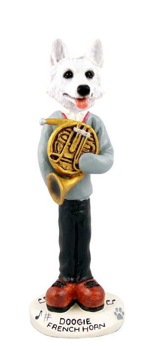 German Shepherd White French Horn Doogie Collectable Figurine