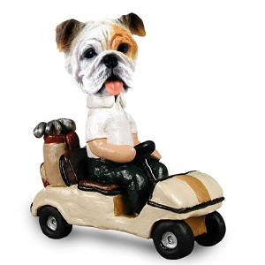 Bulldog White Golf Cart Doogie Collectable Figurine