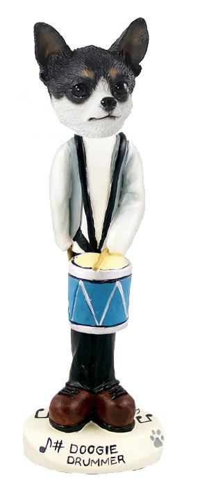 Chihuahua Black & White Drummer Doogie Collectable Figurine
